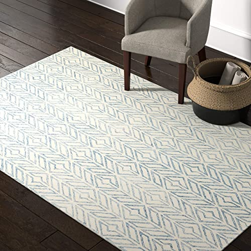 Amazon Brand Rivet Modern Geometric Wool Area Rug, 5 x 8 Foot, Blue