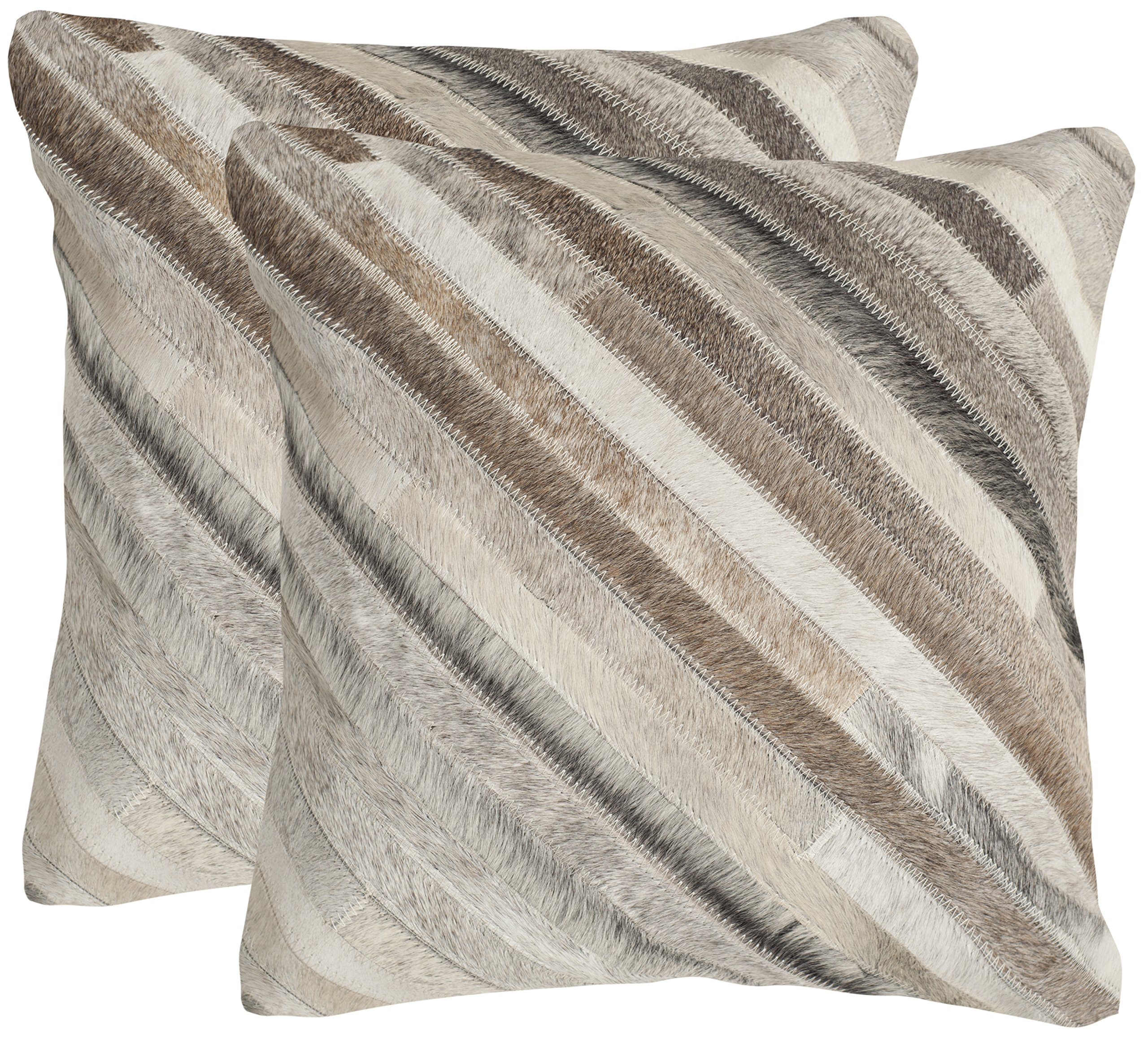 Safavieh Pillow Collection Throw Pillows, 22 by 22-Inch, Cherilyn Grey, Set of 2