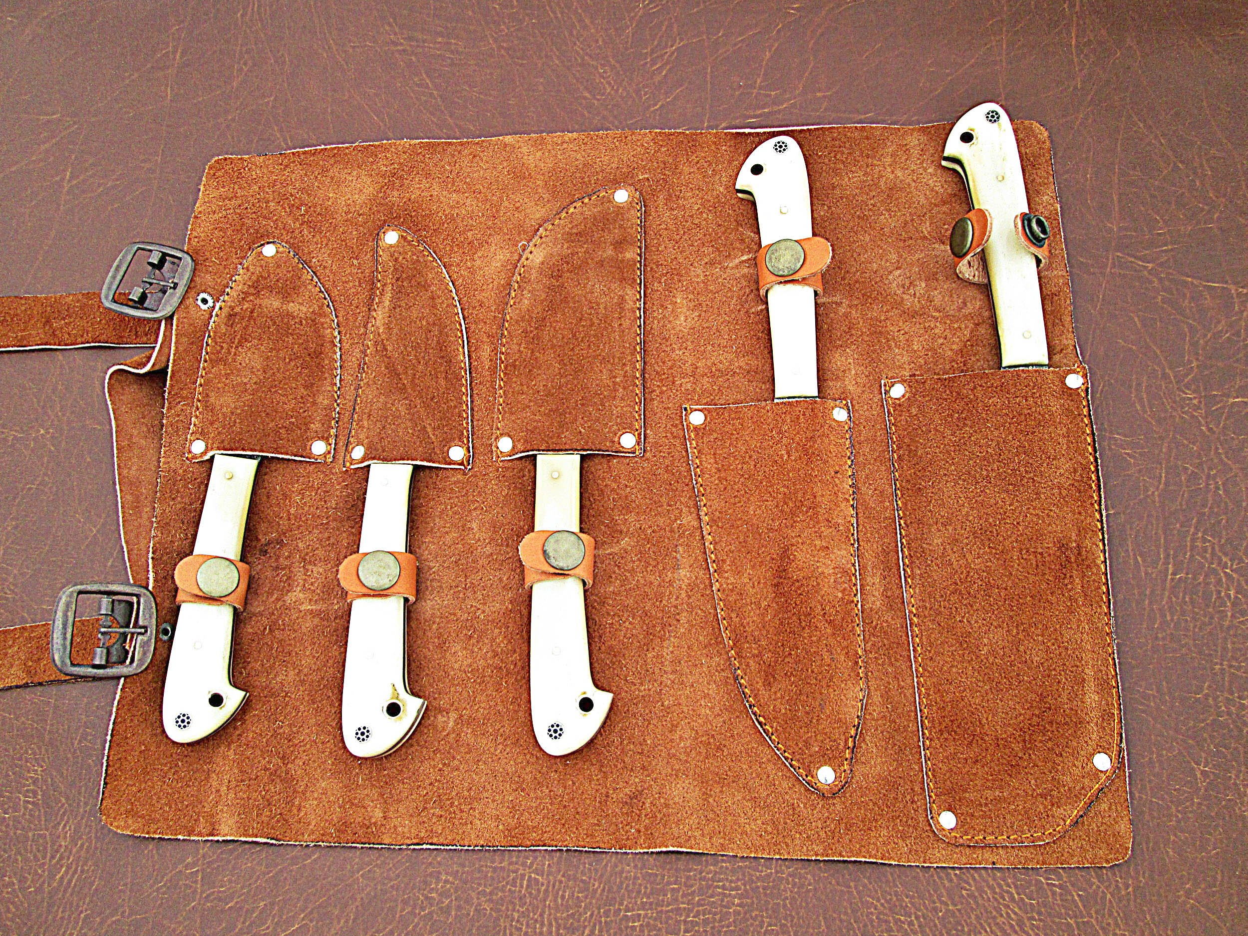 Christmas Gift Offer By ColdLand | Custom Handmade Damascus Steel Splendid Kitchen Set Knives Lot of 5 KSLOT2 by ColdLand Knives (Image #8)