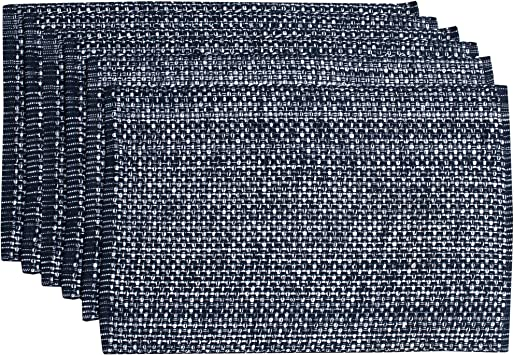 Sweet Home Collection Trends Two Tone 100 Cotton Woven Placemat 6 Pack 13 X19 Navy Kitchen Dining Amazon Com