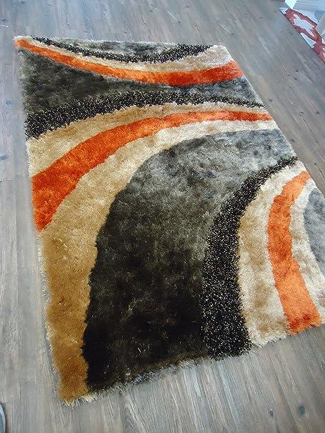Amazon.com: Alfombra Color Café Combinado con Gris y Naranja hecha a mano estilo moderno suave y lujosa , gruesa pila de tamaño 60