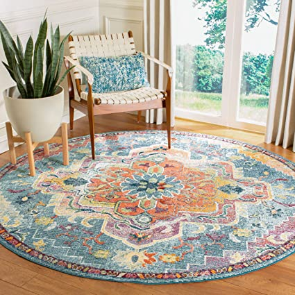 Safavieh CRS501J-7R Crystal Collection CRS501J Teal and Orange Area (7 Round) Rug,