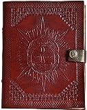 Indiary echtes Leder Yoga-Tagebuch / Notizbuch aus Büffelleder handgeschöpftes Papier 17,5cm X 13,5cm Reliefprägung edel Motiv Sonne