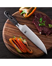 Derjob Chef Knife Chef's Knives Professional 8 Inch Kitchen Knives Ergonomic Wooden Handle High Carbon Germany X50crmov15 Stainless Steel with Sharp Cut Edge Best for Home Chefs Cutting Slicing