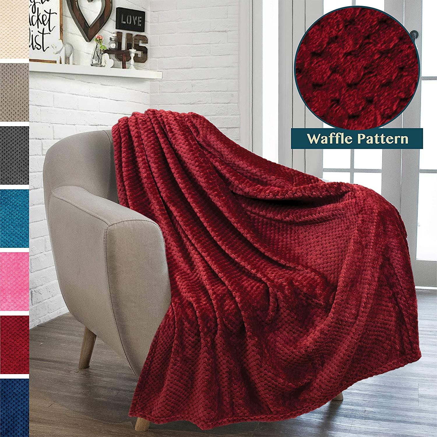 PAVILIA Premium Flannel Fleece Throw Blanket for Sofa Couch | Wine Maroon Waffle Textured Soft Fuzzy Throw | Warm Cozy Microfiber | Lightweight, All Season Use | 50 x 60 Inches
