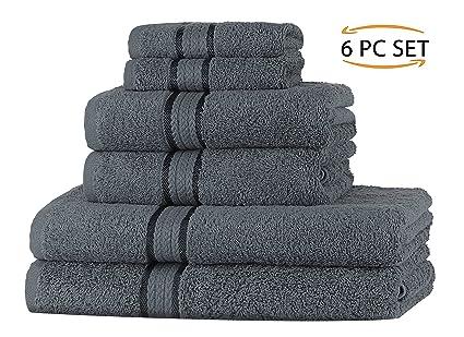 SweetNeedle Super Soft Set de 6 piezas Toallas Carbón, 100% algodón Ringspun Lujo,