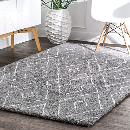 nuLOOM Lauren Lattice Shag Rug, 6 x 9 , Grey