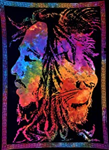 "ANJANIYA Bob Marley Lion Face Beautiful Bohemian Room Dorm Decor Hippie Small Boho Rasta Tapestry Poster 30""x40"" Psychedelic Reggae Tapestries Wall Art Hanging Gypsy Posters (Multi Color)"