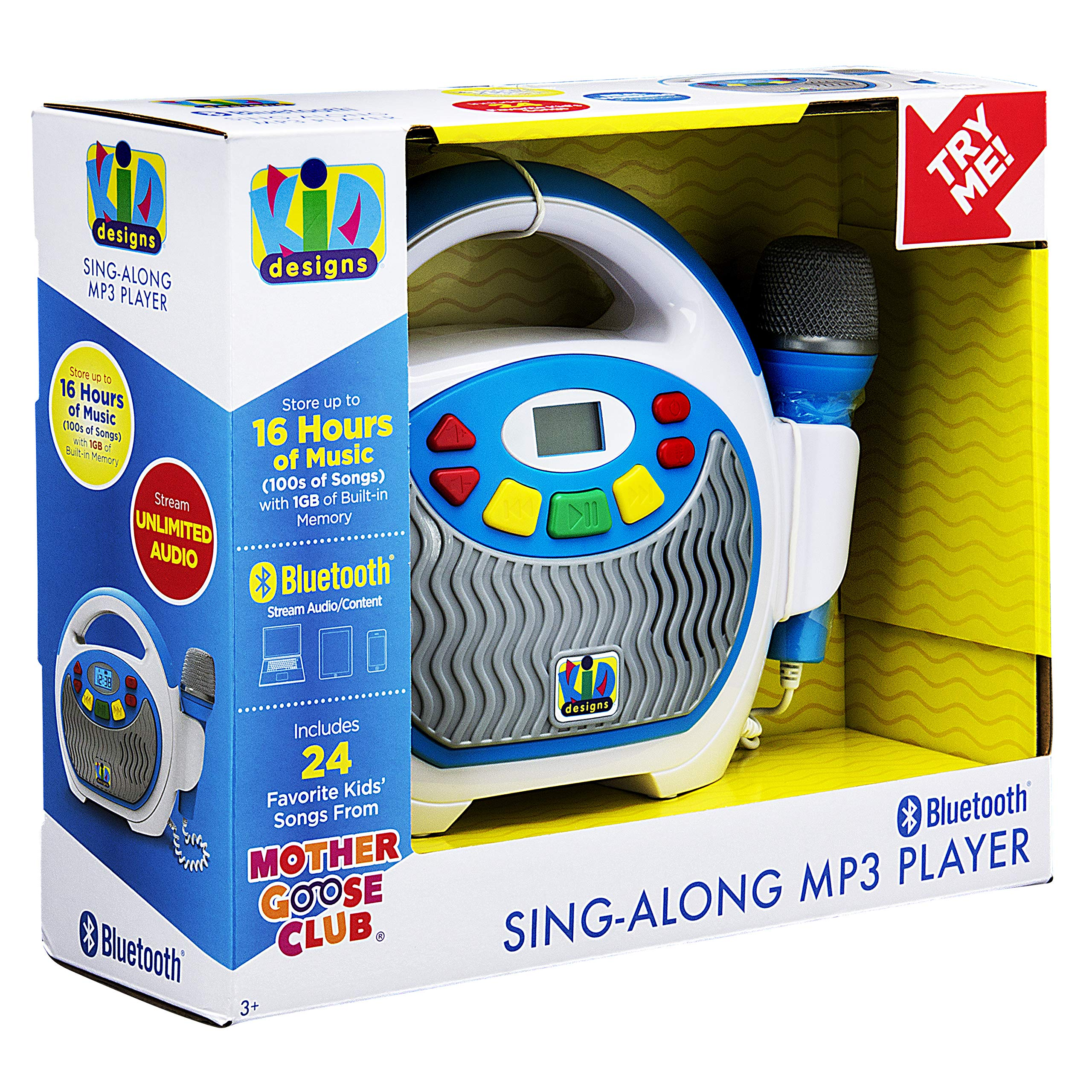 eKids Bluetooth Sing Along Portable MP3 Player Real Working Microphone Stores up to 16 Hours Music 1 GB Built in Memory USB Port to Expand Your Content Built in Rechargeable Batteries KIDdesigns