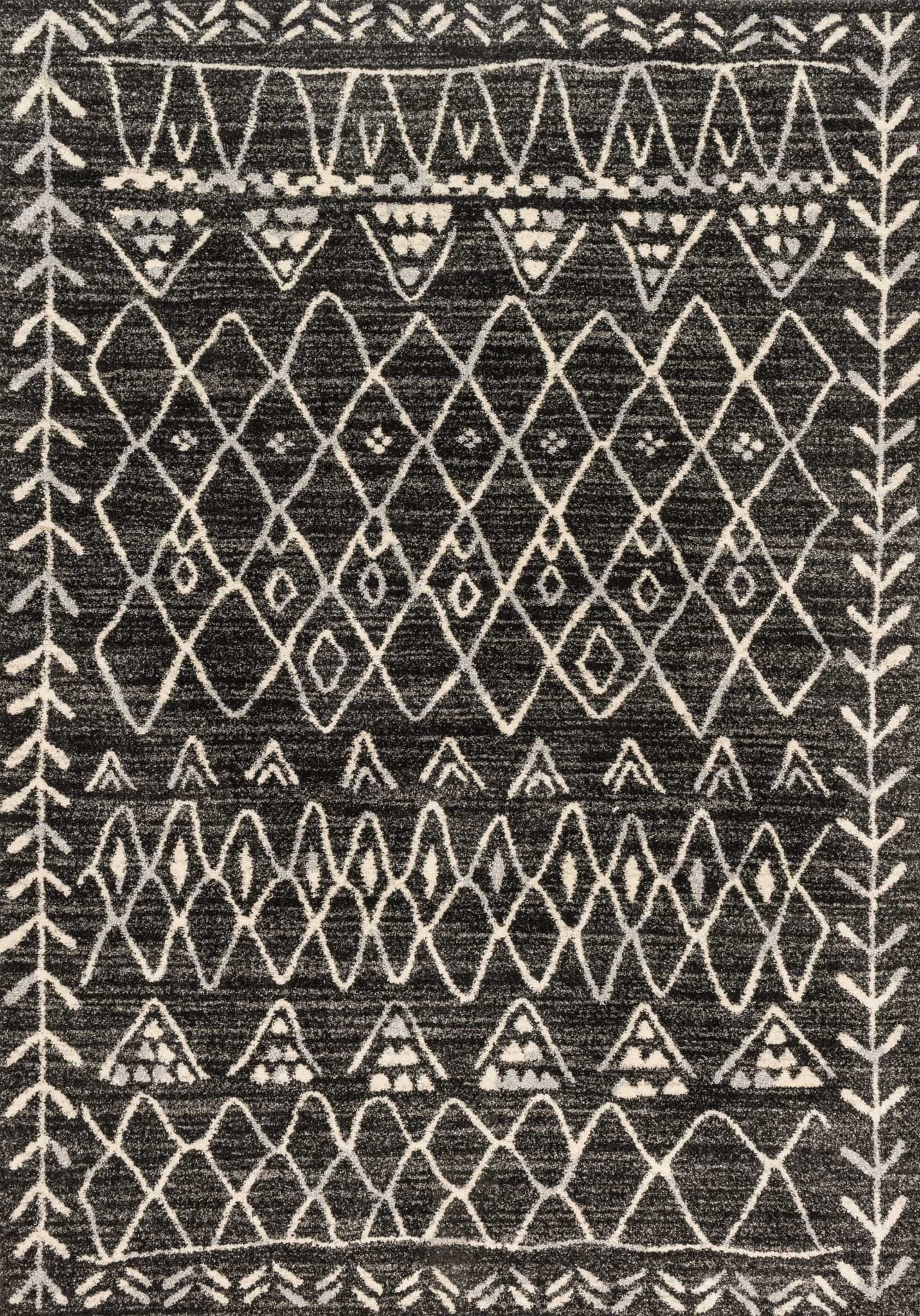 """Loloi Rugs, Emory Collection - Black / Ivory Area Rug, 2'5"""" x 7'7"""" - Power loomed in Turkey of 100% polypropylene, the Emory Collections offers a series of graphic, transitional and traditional designs A calming neutral palette is a seamless, yet striking addition for any room Durable and dependable, Emory is a beautiful foundation for even the most high traffic spots. And the polypropylene fiber is extremely stain resistant, fade resistant and easy to clean - living-room-soft-furnishings, living-room, area-rugs - A1Z4ZCQSJZL -"""