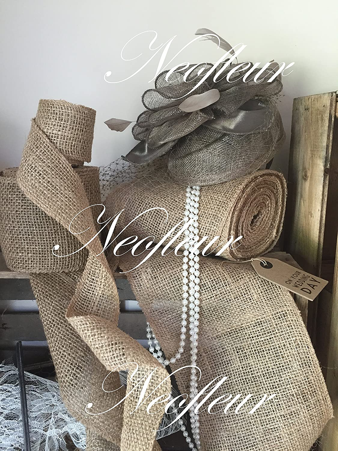 Neofleur 5 metre roll (16 FEET) of Luxury Natural Hessian Burlap Jute Fabric Ribbon for Wedding Events,Table Runners, hessian chair sash, party or any rustic decoration. Home Decor, Christmas vintage styling, Wreaths & Bows : AVAILABLE IN WIDTHS OF 2