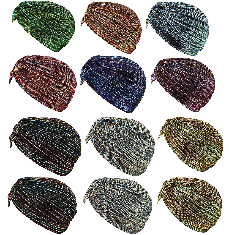 12 Pieces- Dozen Pack Women's Pleated Glittered Turban Hat Head Wear