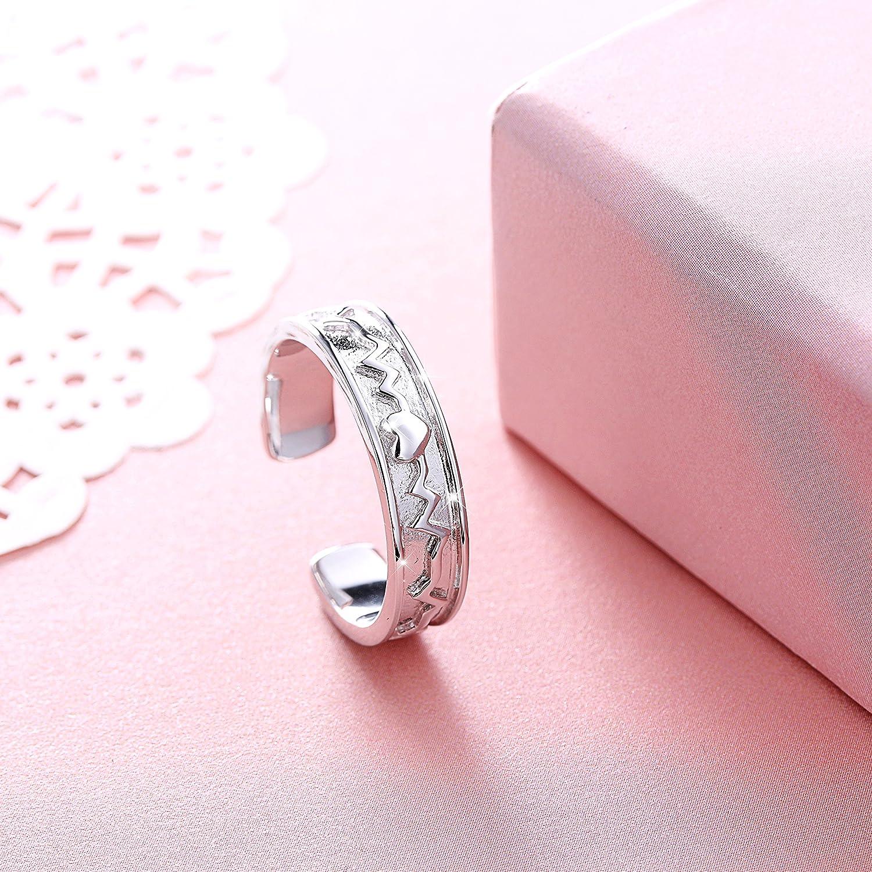 Amazon.com: 925 Sterling Silver Eternity Love Heartbeat EKG Promise ...