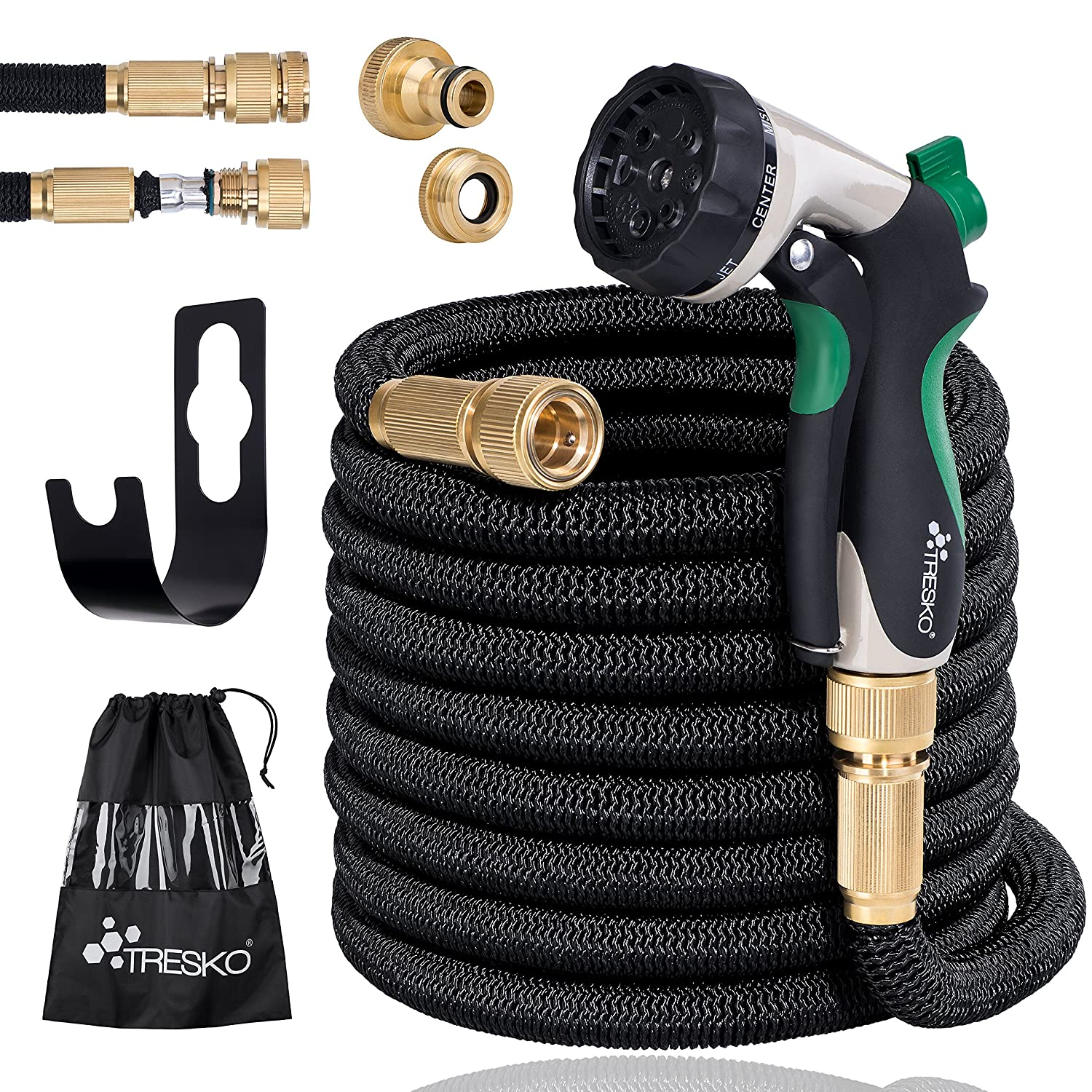 Expandable Garden Water Hose Pipe- 8-Pattern Spray Gun Anti-leakage with Brass Fittings, Triple Latex Core & Hose Hook/ Hanger, Magic-hose pipes by TRESKO (25FT) DWD-Company