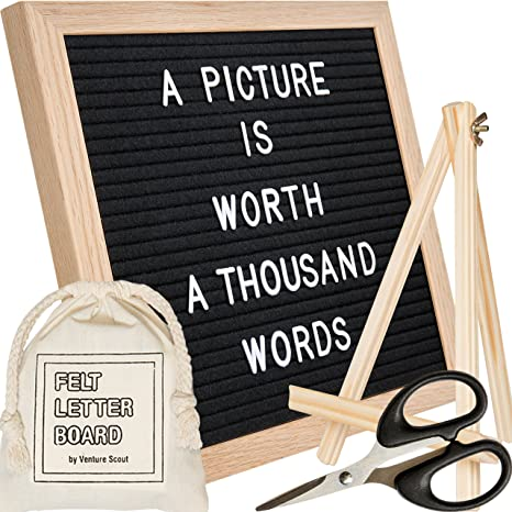 felt letter board 10x10 inch oak frame with black felt set includes 340 changeable