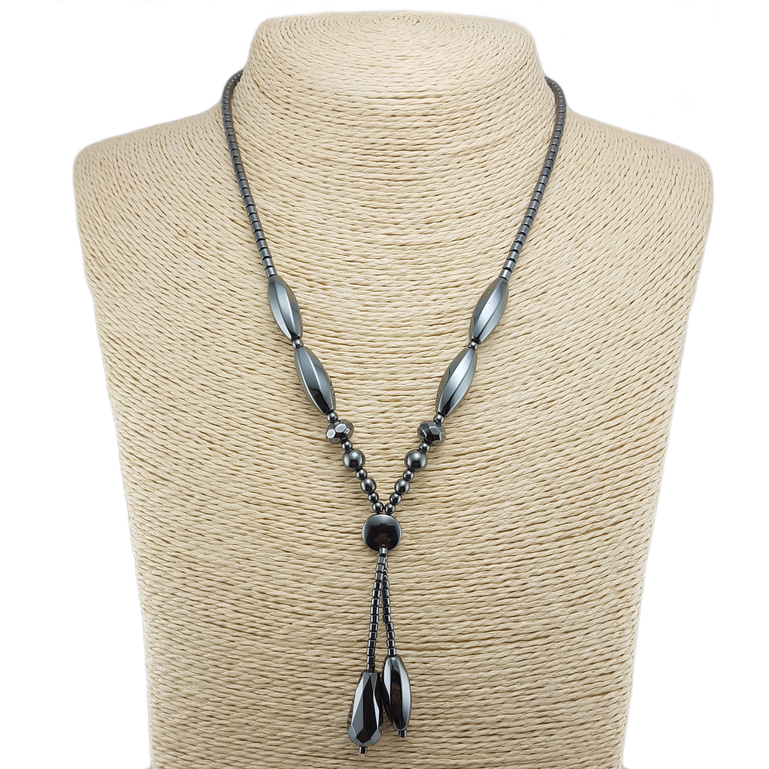 BlueRica Double Strand Drop Hematite Necklace with Design Beads