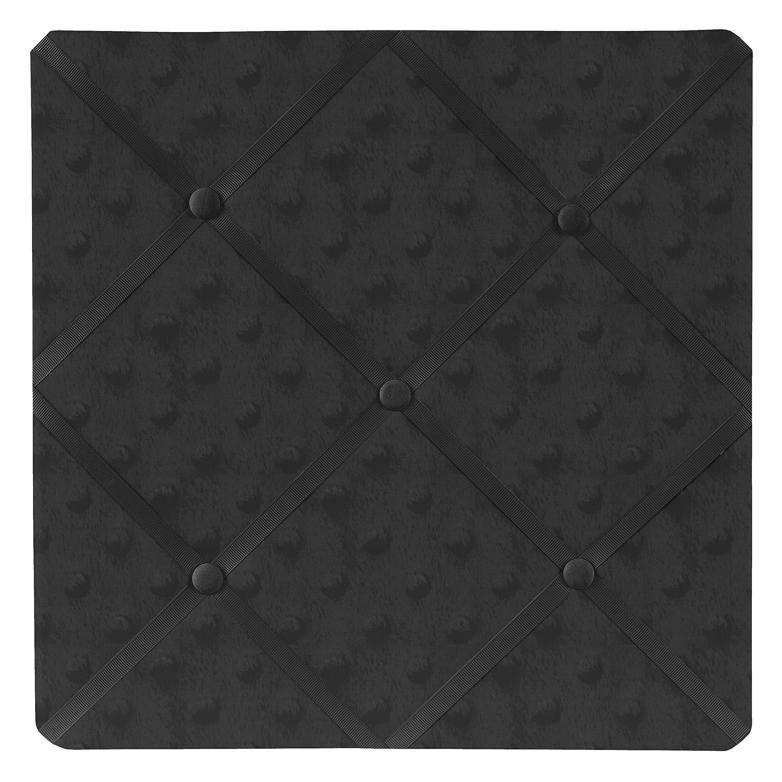 Sweet Jojo Designs Solid Black Minky Dot Fabric Memory/Memo Photo Bulletin Board