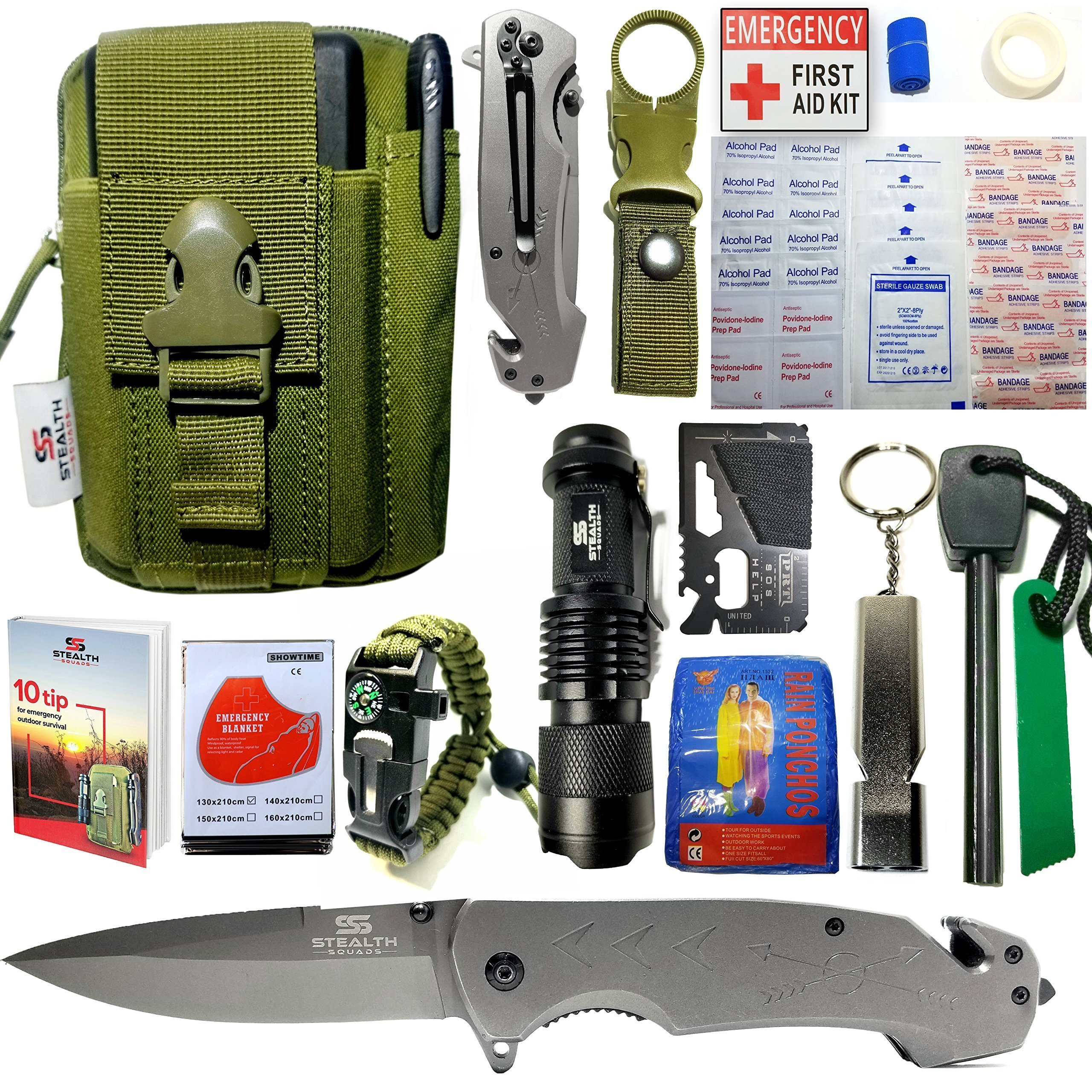EMERGENCY SURVIVAL KIT 42 in 1 MILITARY POUCH, TACTICAL POCKET KNIFE, FIRE STARTER, BLANKETS, COMPASS BRACELET, FIRST AID KIT, WHISTLE, CAMPING, HIKING, HUNTING, PREMIUM OUTDOOR GEAR w/ BONUS E-BOOK