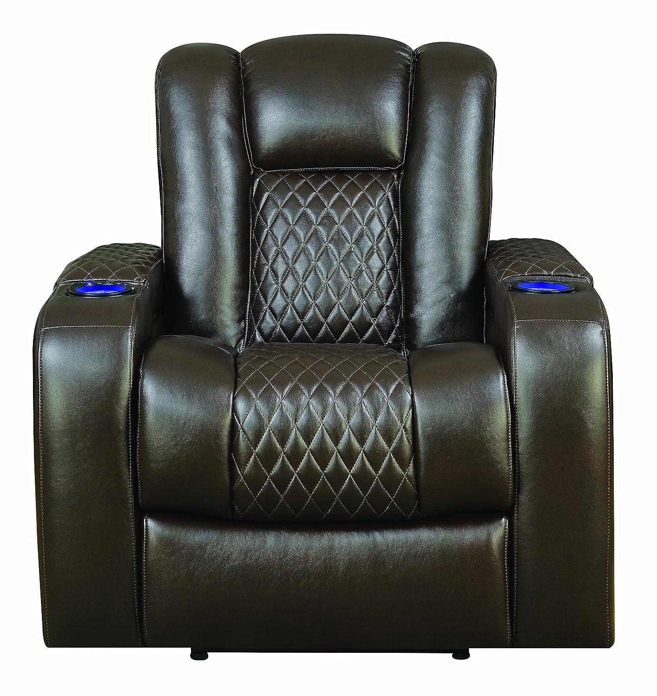 Amazon.com: Coaster Home Furnishings 602306P Recliner, Brown ...