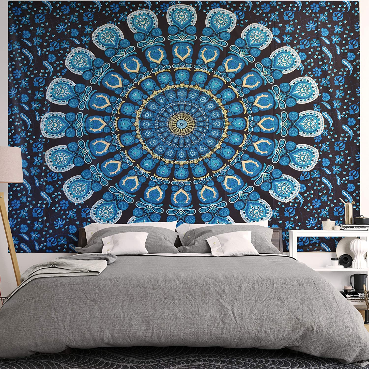 Amazon Com Blue Bohemian Tapestry Boho Hippie Psychedelic Decor For Wall Hanging For Your Dorm Room Or Bedroom Mandala Tapestries For Trippy Room Decor Dark Teal And Black Large Size For