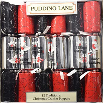 pudding lane christmas crackers mod robin 12 count