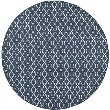 Safavieh Courtyard Collection CY6919-268 Navy and Beige Indoor/ Outdoor Round Area Rug (6'7  Diameter)