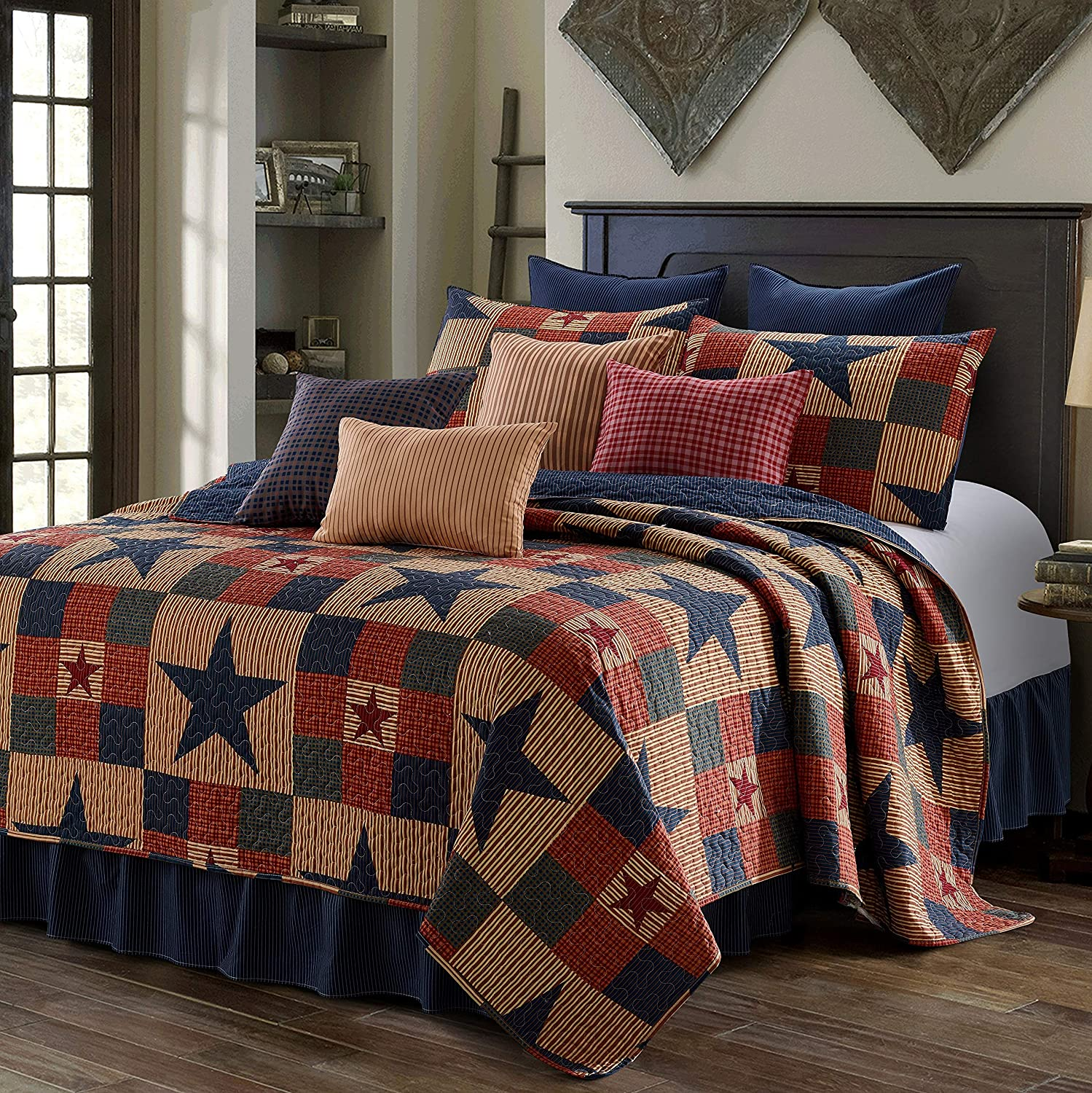 Virah Bella 3 Piece Mountain Cabin Stars Rustic 3 Piece Quilt and Sham Set (Blue, King)