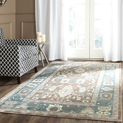 Safavieh Valencia Collection VAL122B Chocolate and Alpine Vintage Distressed Silky Polyester Area Rug 8 x 10