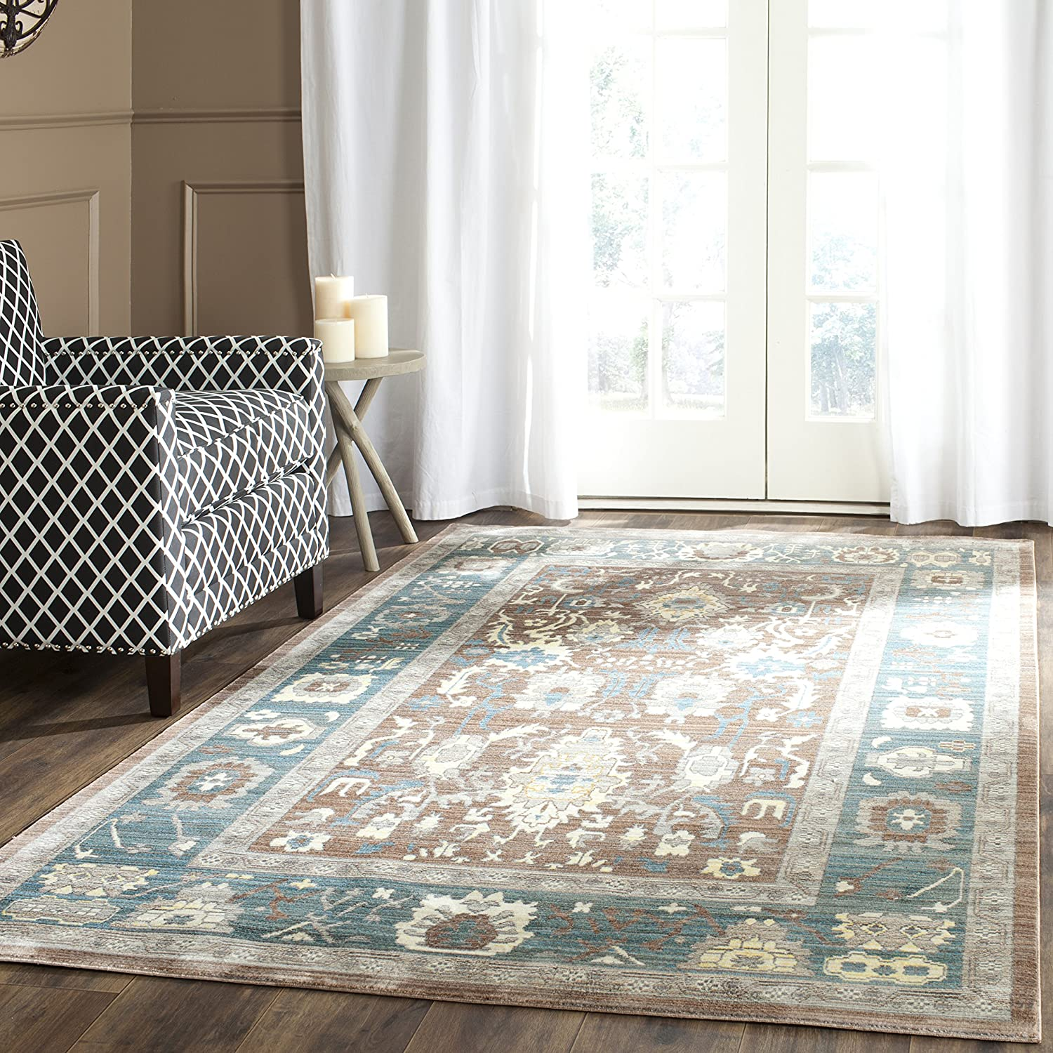 Safavieh Valencia Collection VAL122B Chocolate and Alpine Vintage Distressed Silky Polyester Area Rug (8' x 10')