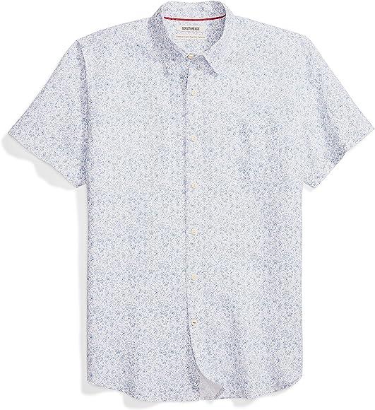 e8ad70b6898 Goodthreads Men's Standard-Fit Short-Sleeve Linen and Cotton Blend Shirt,  Blue Floral