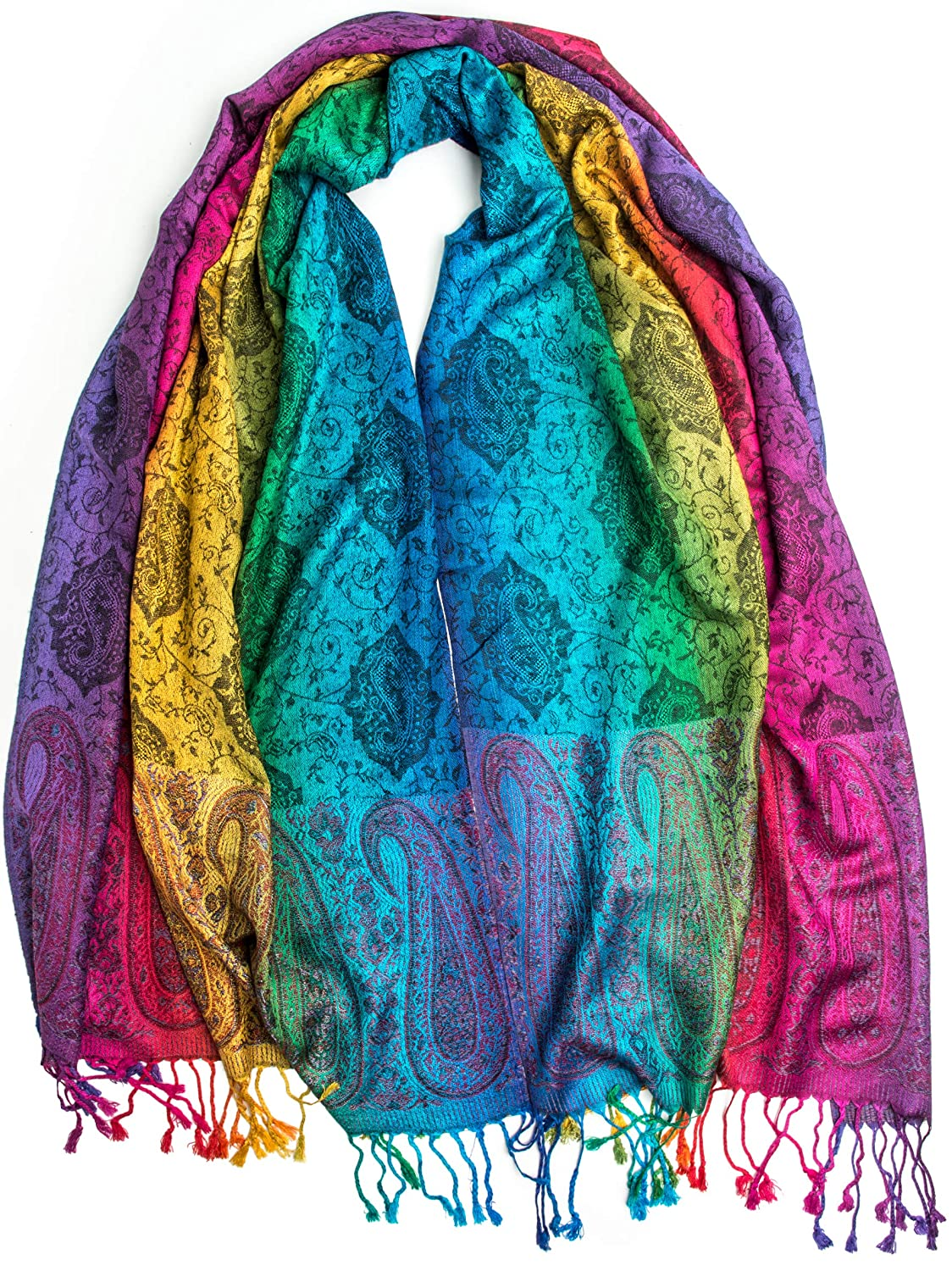 70s Jackets, Furs, Vests, Ponchos Iris Rainbow Pashmina Real Silk and Pashmina Indian Paisley Traditional Jacquard Brocade Scarf or Shawl $31.95 AT vintagedancer.com