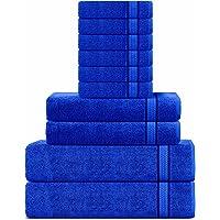 Juego de Toallas súper Suaves de algodón Sweet Needle de 600 g/m2, Azul Real - 2 Toallas de baño, 2 Toallas de Mano y 6…