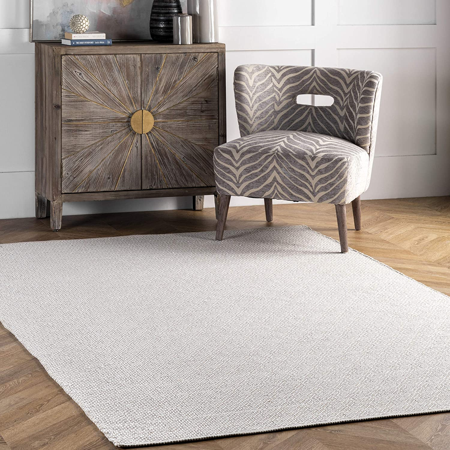 Nuloom Contemporary Check Flatwoven Area Rug Taupe 5 X 8 Feet Amazon Co Uk Kitchen Home