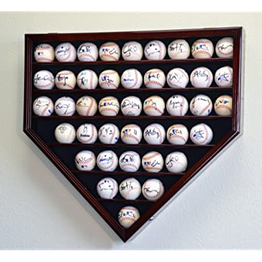 43 Baseball Display Case Cabinet Holder Wall Rack Home Plate Shaped w/ UV Protection- Lockable -Cherry
