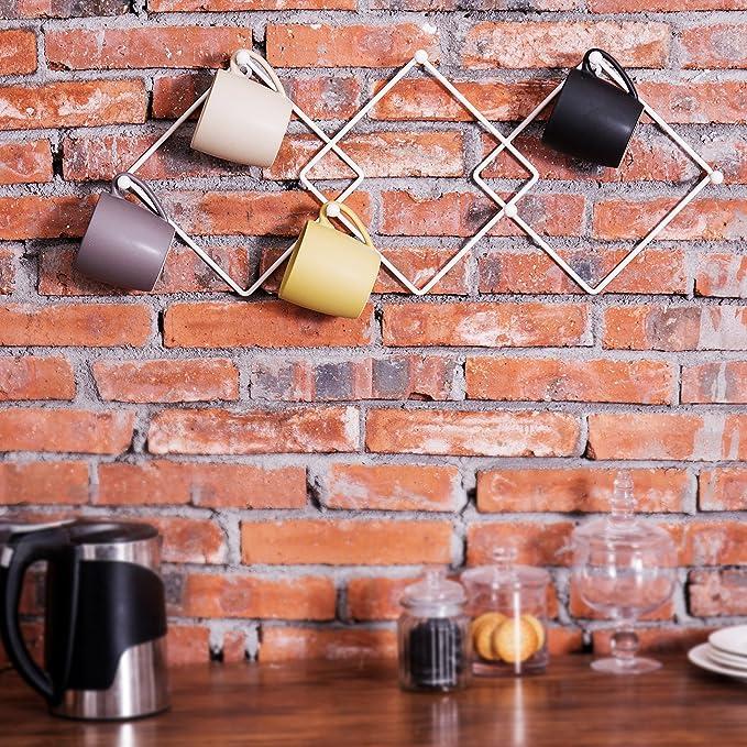 Urban Deco Wall Mug Racks Modern Geometric Metal Mug Cup Holder Rack 3 Hook Mug Holders Coffee Cup Rack Wall Mounted,Set of 3 Gold