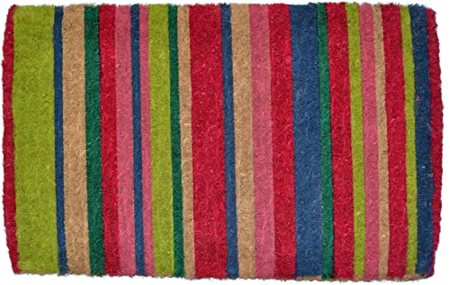Imports D cor Stripes Printed Coir Doormat, 30 by 18 by 1.5-Inch, Multicolor