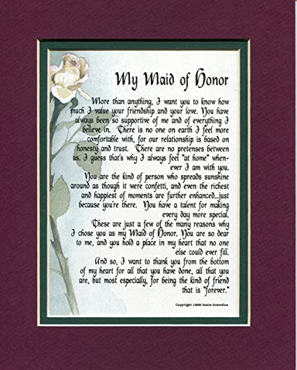 amazon com a thank you gift present poem for a maid of honor 116