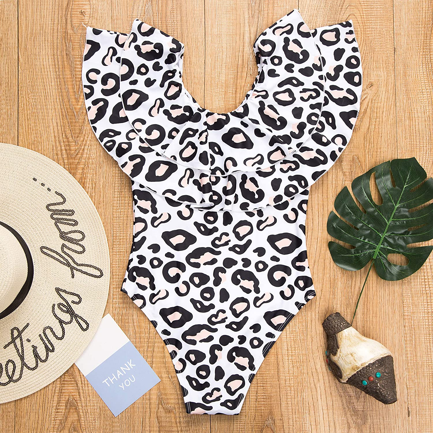 AMILIEe Mommy and Me One Piece Monokini Ruffle Flounce Swimsuit Family Matching Leopard Print Swimwear Bathing Suit