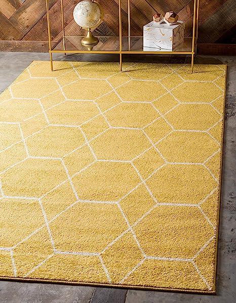 Amazon Com Unique Loom Trellis Frieze Collection Lattice Moroccan Geometric Modern Yellow Area Rug 4 0 X 6 0 Furniture Decor
