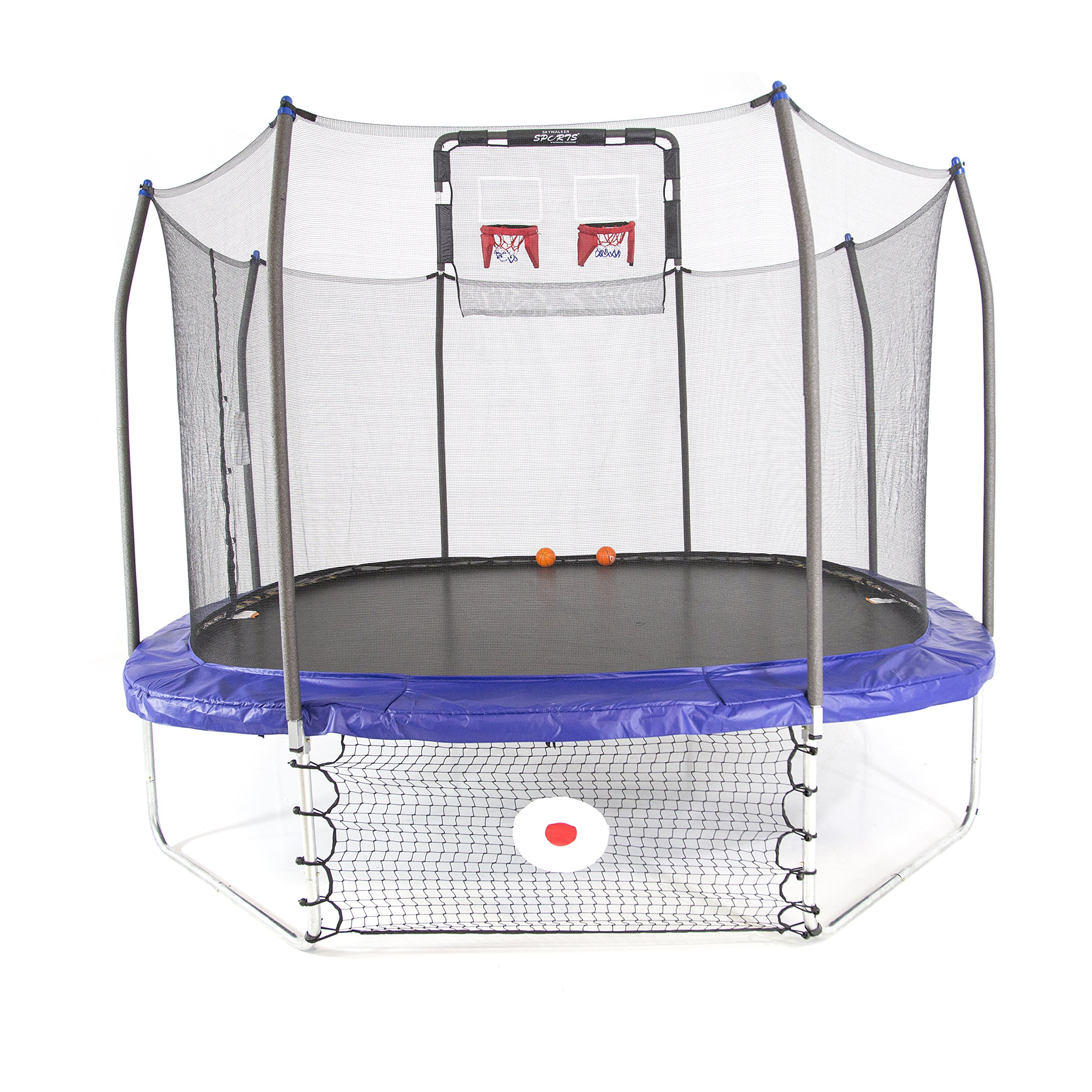 Skywalker Trampolines 12-Foot Square Trampoline with Enclosure – Soccer and Basketball Trampoline