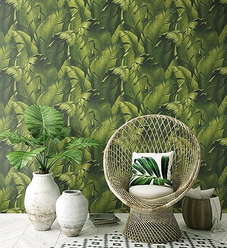 Nextwall Tropical Banana Leaves Peel And Stick Wallpaper Green