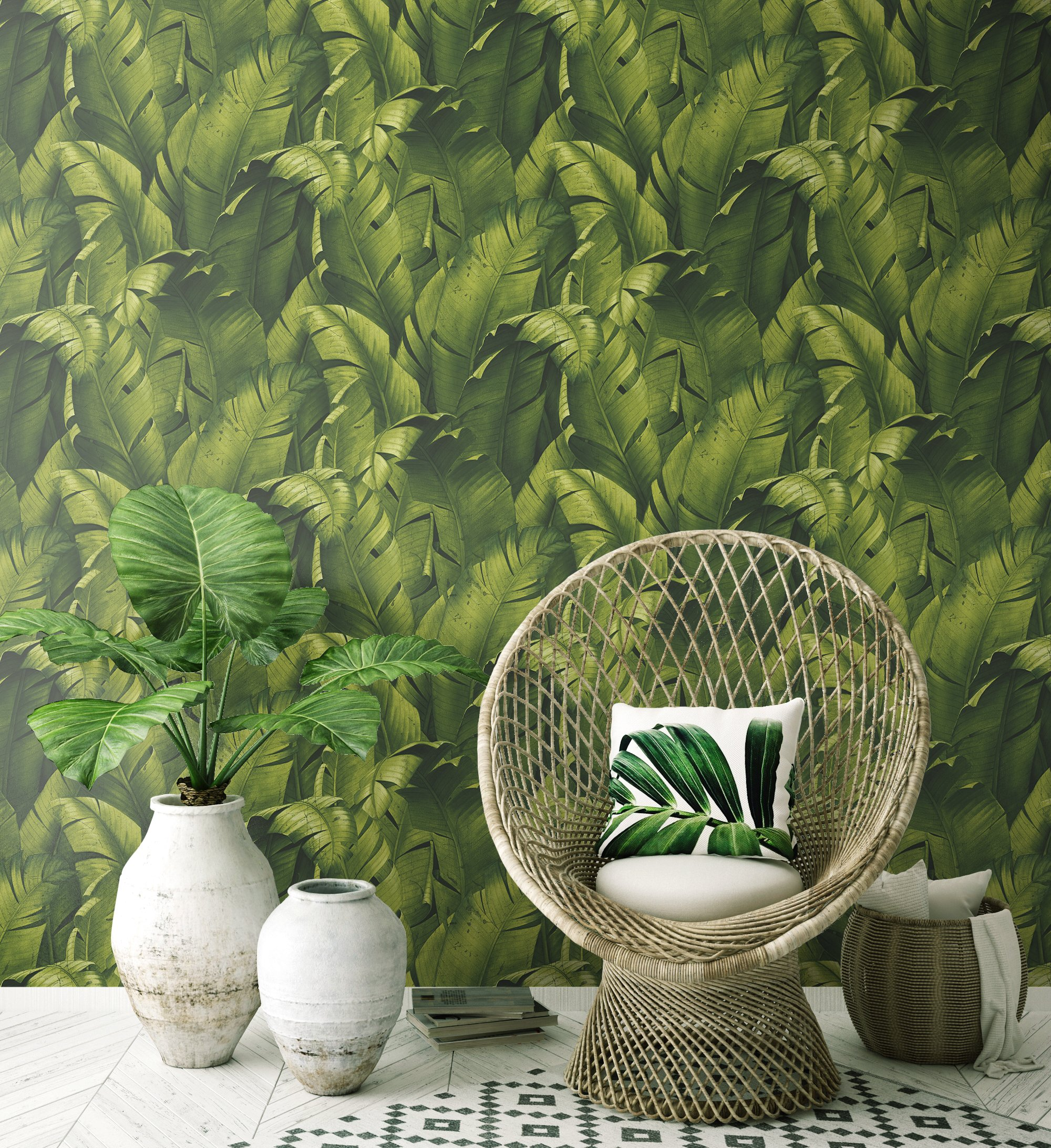 NextWall Tropical Banana Leaves Peel and Stick Wallpaper. (Green) by NextWall