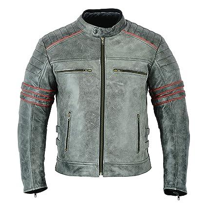 LeatherTeknik Chaqueta de piel para motociclista DC-2808A, para hombre, con brazos
