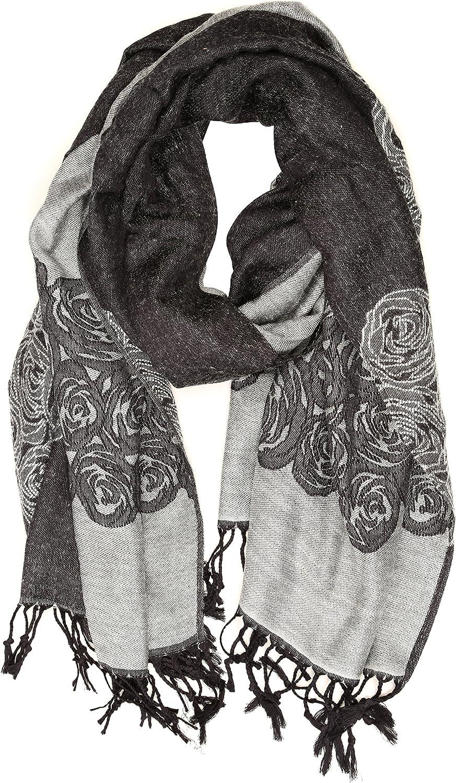 Sakkas Aubry dual colored ranunculus border soft Pashmina//Shawl//Wrap//Stole