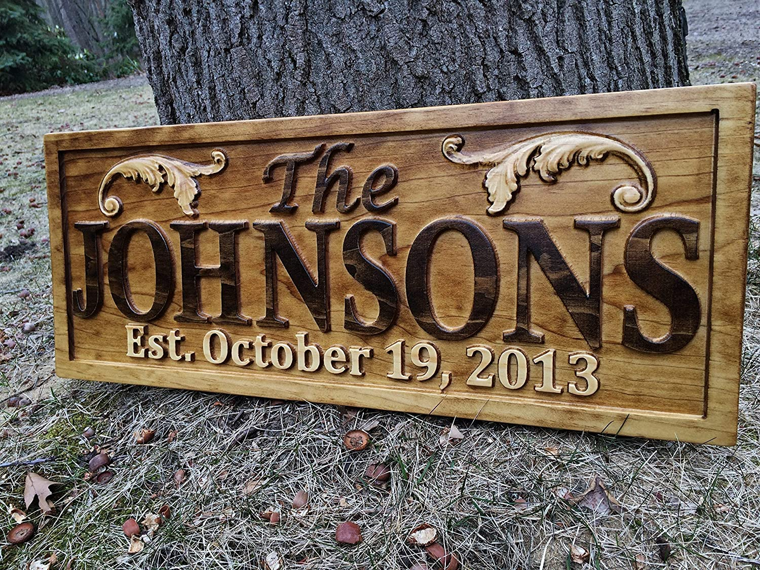 Personalized lake house sign custom wood sign carved last name wooden signs home décor 3d cabin rustic lakehouse personalized wedding gift established sign