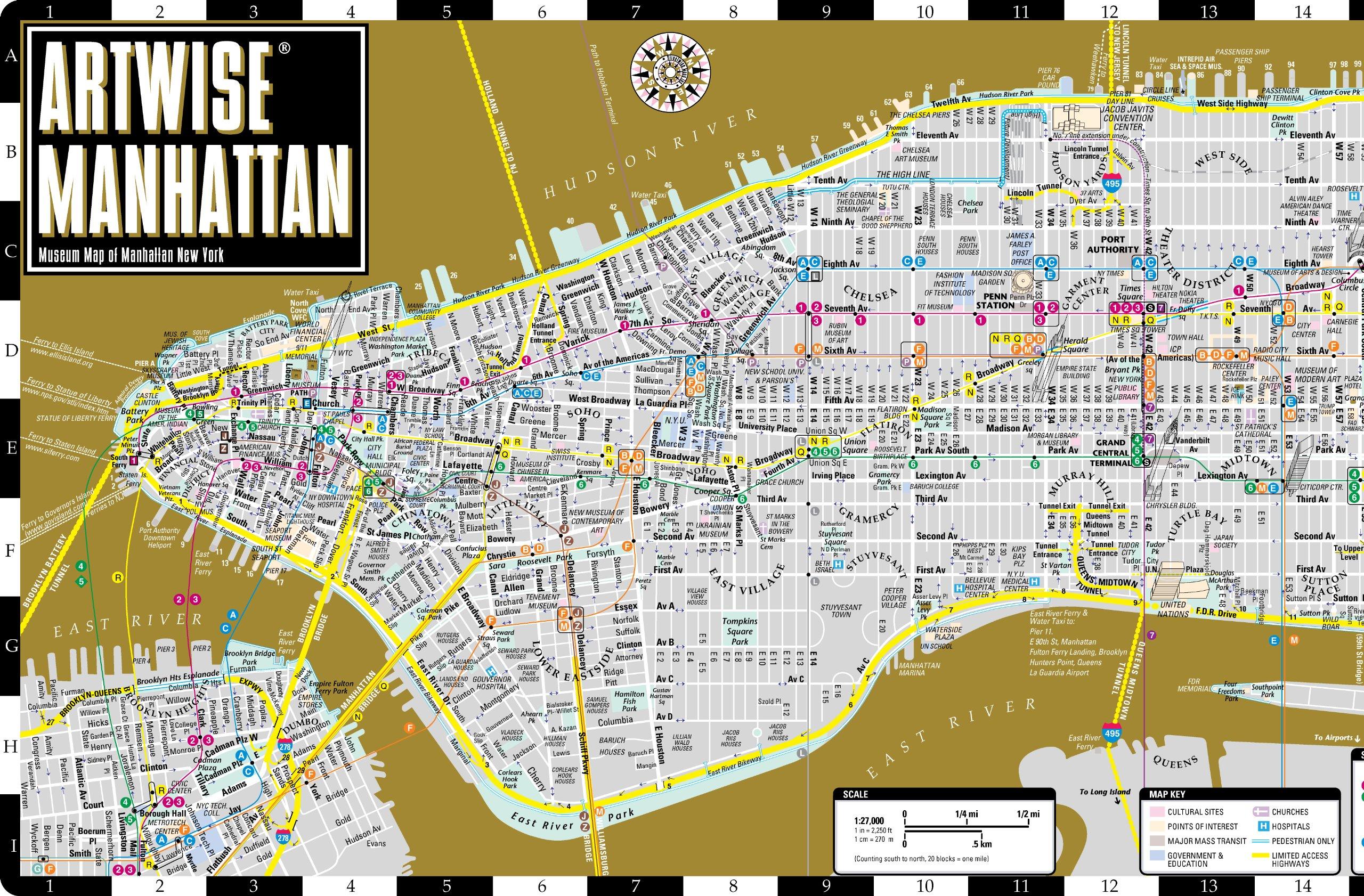 artwise manhattan museum map laminated museum map of manhattan