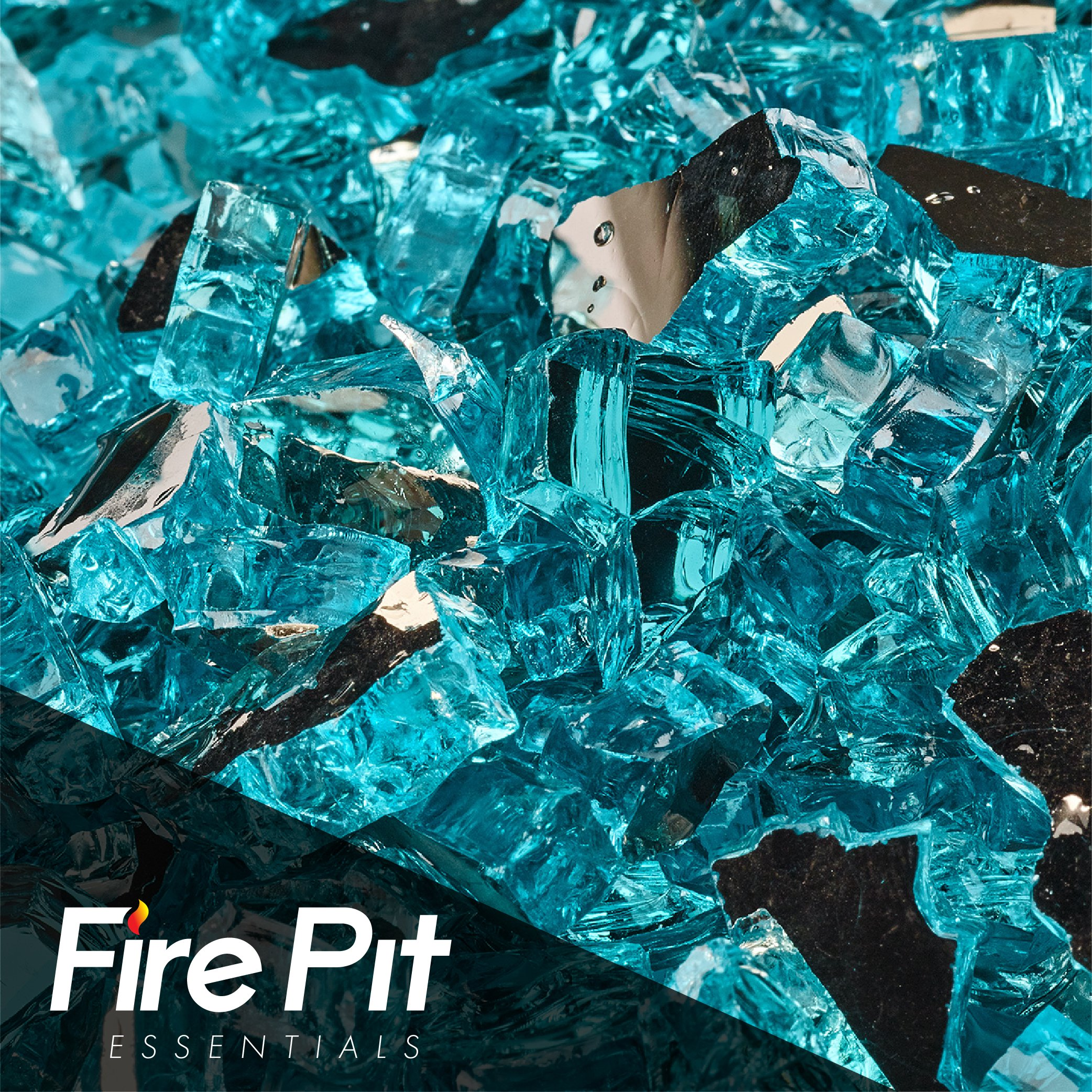 Fireglass 10-pound Reflective Fire Glass with Fireplace Glass and Fire Pit Glass, 1/4-inch, Azuria
