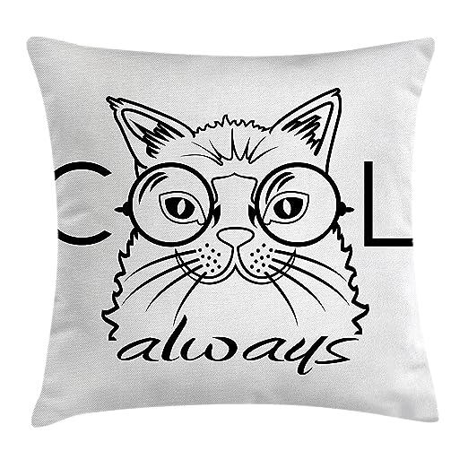 Gato manta almohada Funda de cojín por Ambesonne, Cool Smart ...