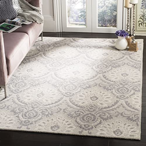 Safavieh Blossom Collection BLM106A Floral Vines Light Grey and Ivory Premium Wool Area Rug 8 x 10
