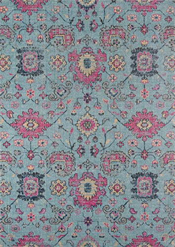 Momeni Rugs Jewel Traditional Floral Flat Weave Area Rug, 7 10 x 9 10 , Blue